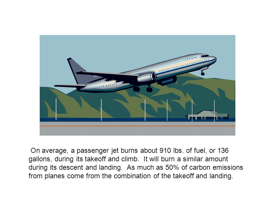 On average, a passenger jet burns about 910 lbs.