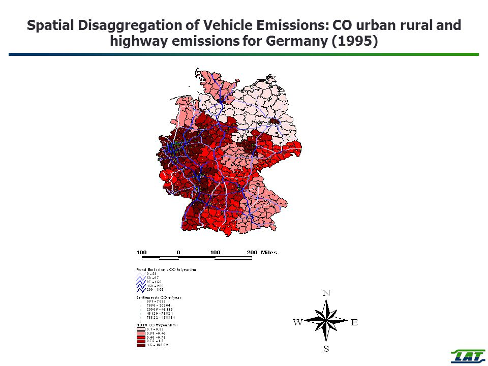 Spatial Disaggregation of Vehicle Emissions: CO urban rural and highway emissions for Germany (1995)