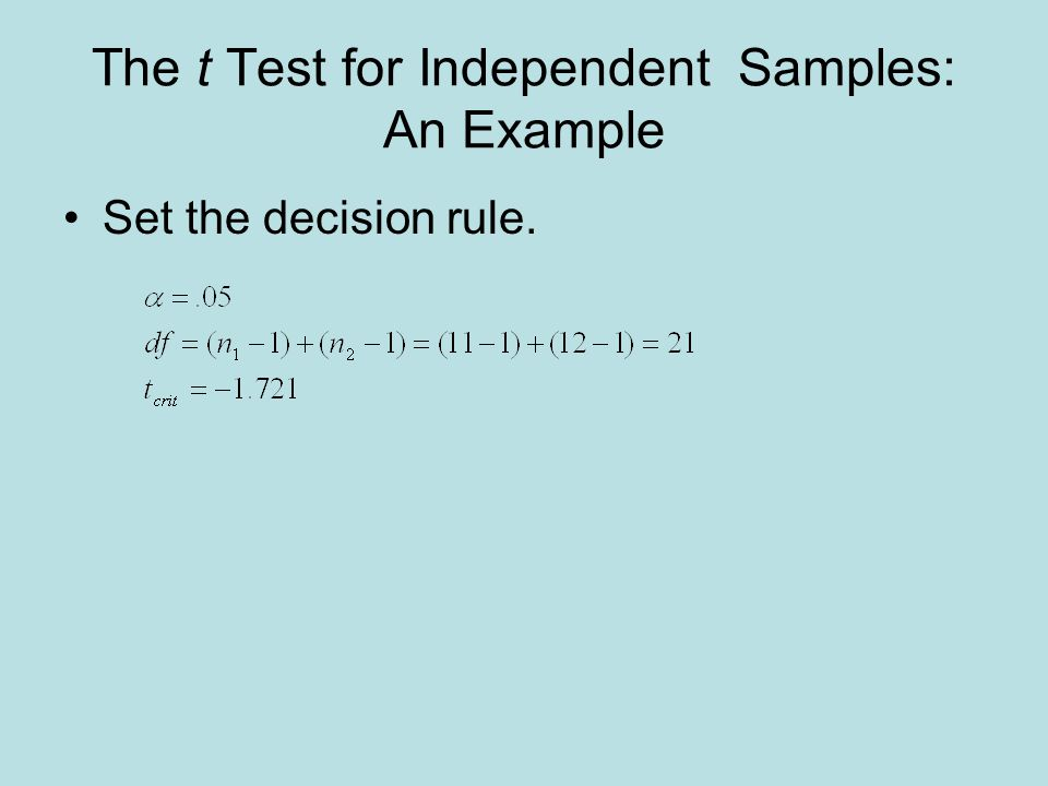 The t Test for Independent Samples: An Example Set the decision rule.