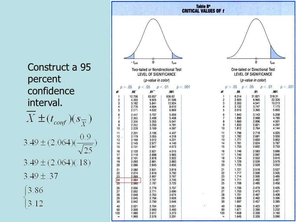 The t Test for a Single Sample: Example Construct a 95 percent confidence interval.