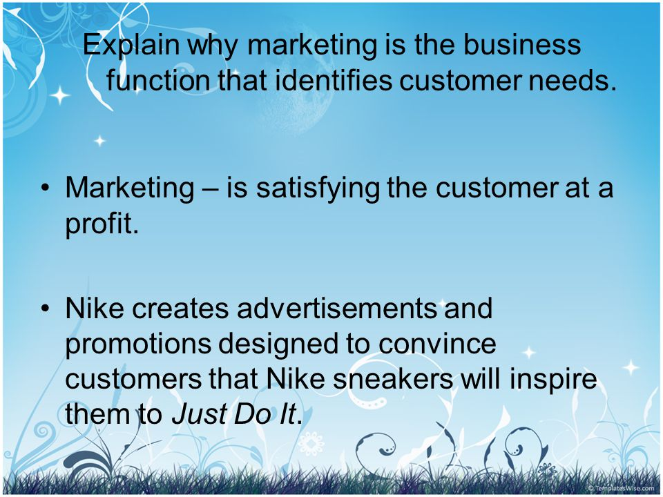Explain why marketing is the business function that identifies customer needs.