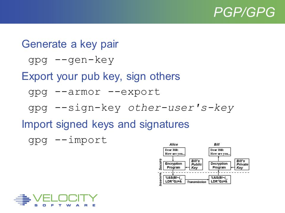 PGP/GPG Generate a key pair gpg --gen-key Export your pub key, sign others gpg --armor --export gpg --sign-key other-user s-key Import signed keys and signatures gpg --import