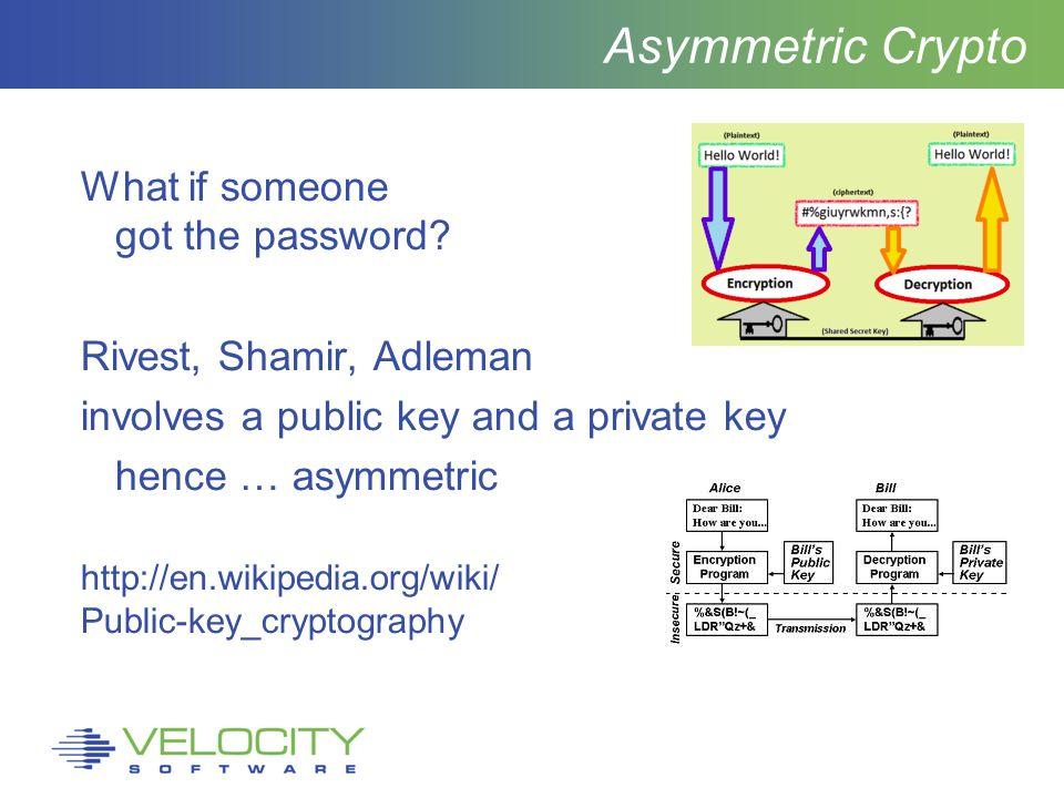 Asymmetric Crypto What if someone got the password.