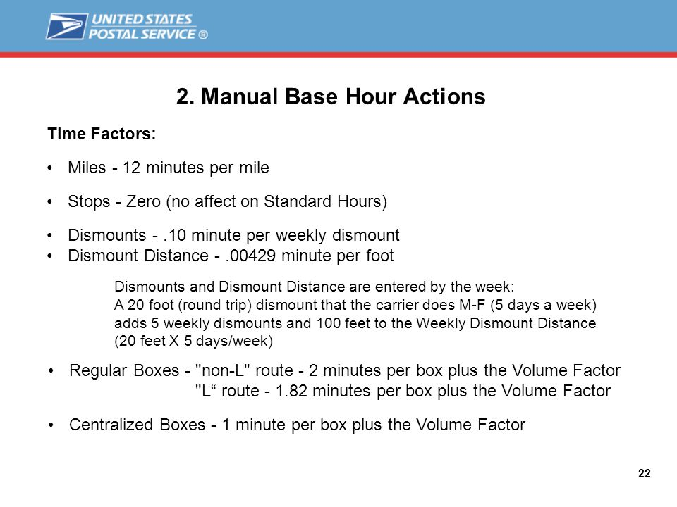 22 2. Manual Base Hour Actions Time Factors: Miles - 12 minutes per mile Stops - Zero (no affect on Standard Hours) Dismounts -.10 minute per weekly d