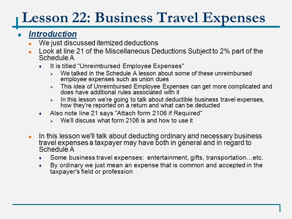 Vita  Lesson  Business Travel Expense Winter