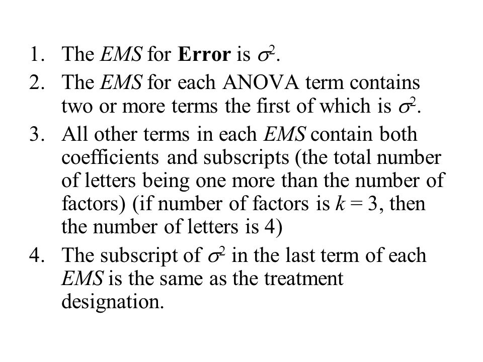 1.The EMS for Error is  2.