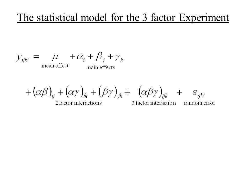 The statistical model for the 3 factor Experiment