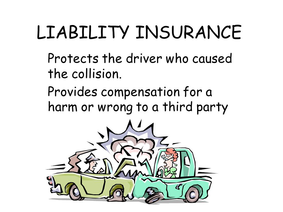 LIABILITY INSURANCE Protects the driver who caused the collision. Provides compensation for a harm or wrong to a third party