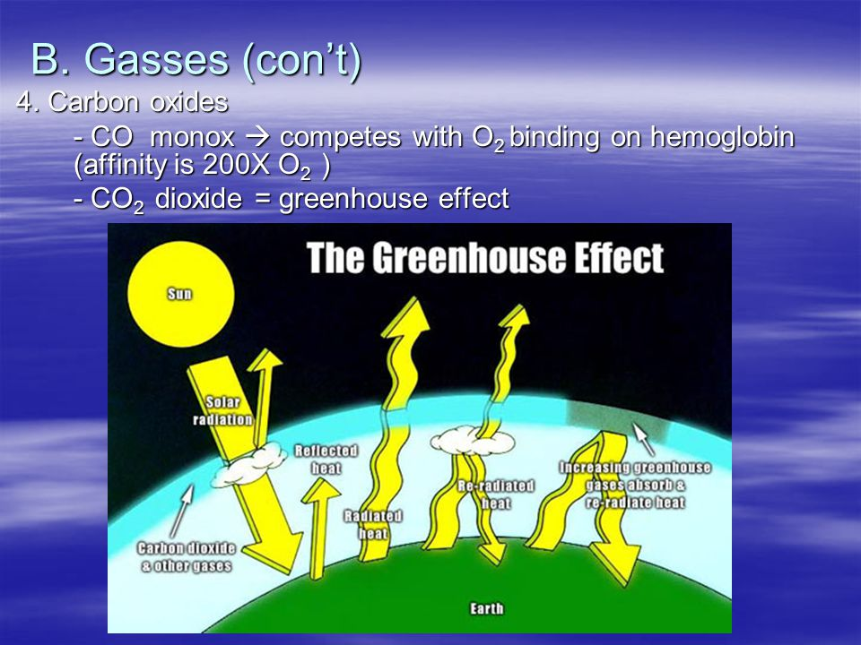 B. Gasses (con't) 4. Carbon oxides - CO monox  competes with O 2 binding on hemoglobin (affinity is 200X O 2 ) - CO 2 dioxide = greenhouse effect