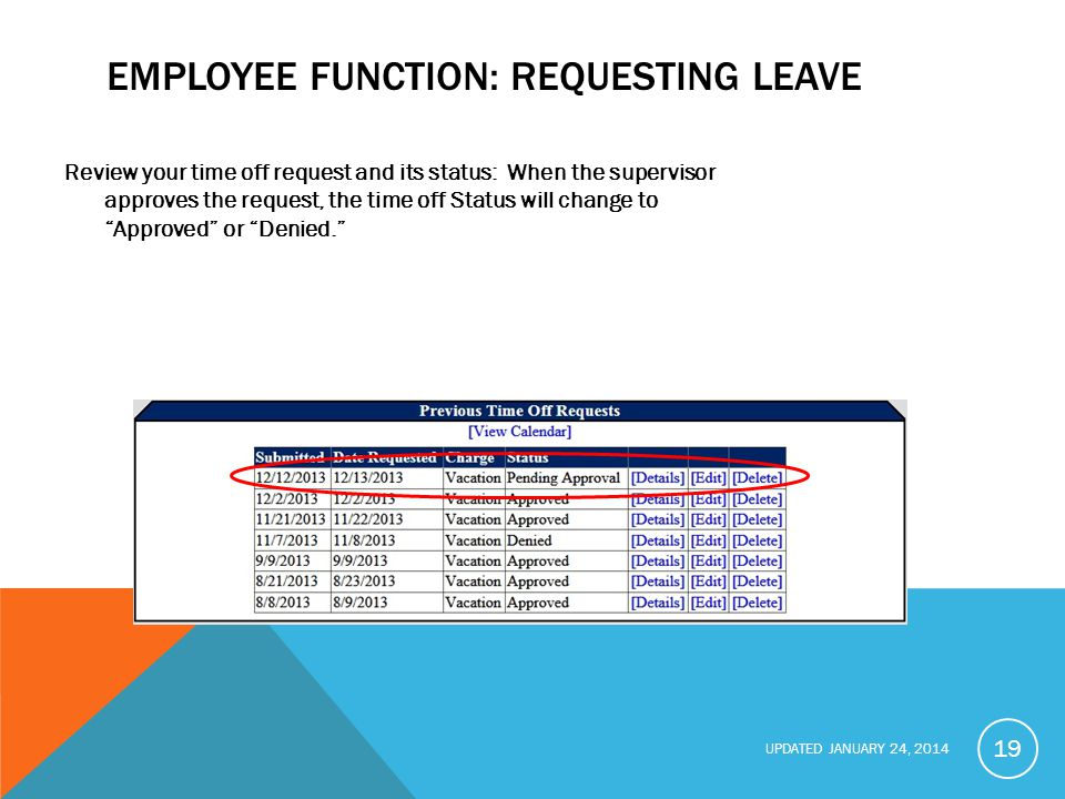 UPDATED JANUARY 24, 2014 EMPLOYEE FUNCTION: REQUESTING LEAVE Review your time off request and its status: When the supervisor approves the request, the time off Status will change to Approved or Denied. 19