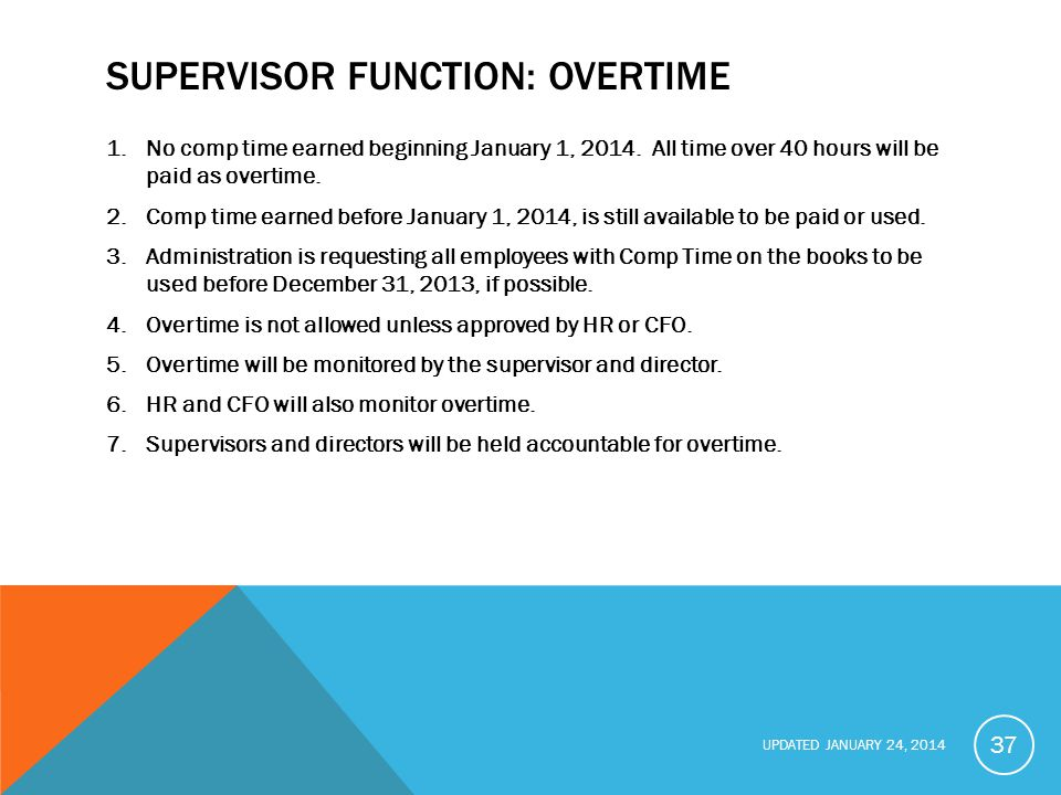 UPDATED JANUARY 24, 2014 SUPERVISOR FUNCTION: OVERTIME 1.No comp time earned beginning January 1, 2014.