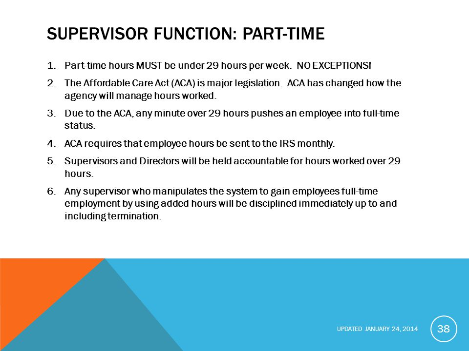 UPDATED JANUARY 24, 2014 SUPERVISOR FUNCTION: PART-TIME 1.Part-time hours MUST be under 29 hours per week.
