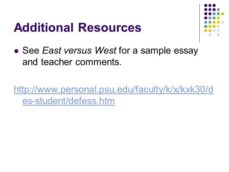 Additional Resources See East versus West for a sample essay and teacher comments.