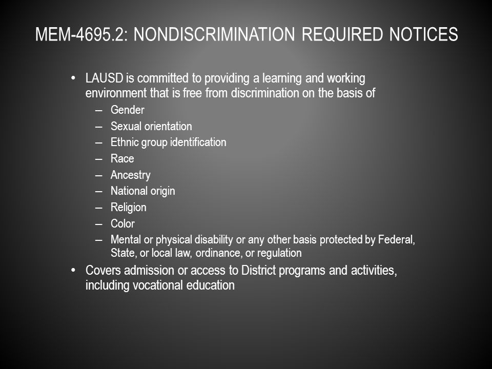 No person shall be subjected to discrimination on the basis of sex, ethnic group identification, race, national origin, religion, color, mental or physical disability, or any basis that is contained in…Section 422.6 of the California Penal Code (includes sexual orientation and gender identity as protected categories…) Formal process: – Take your verbal or written Title IX complaint to the school administrator or Title IX Complaint Manager within six months from the date the incident occurred.