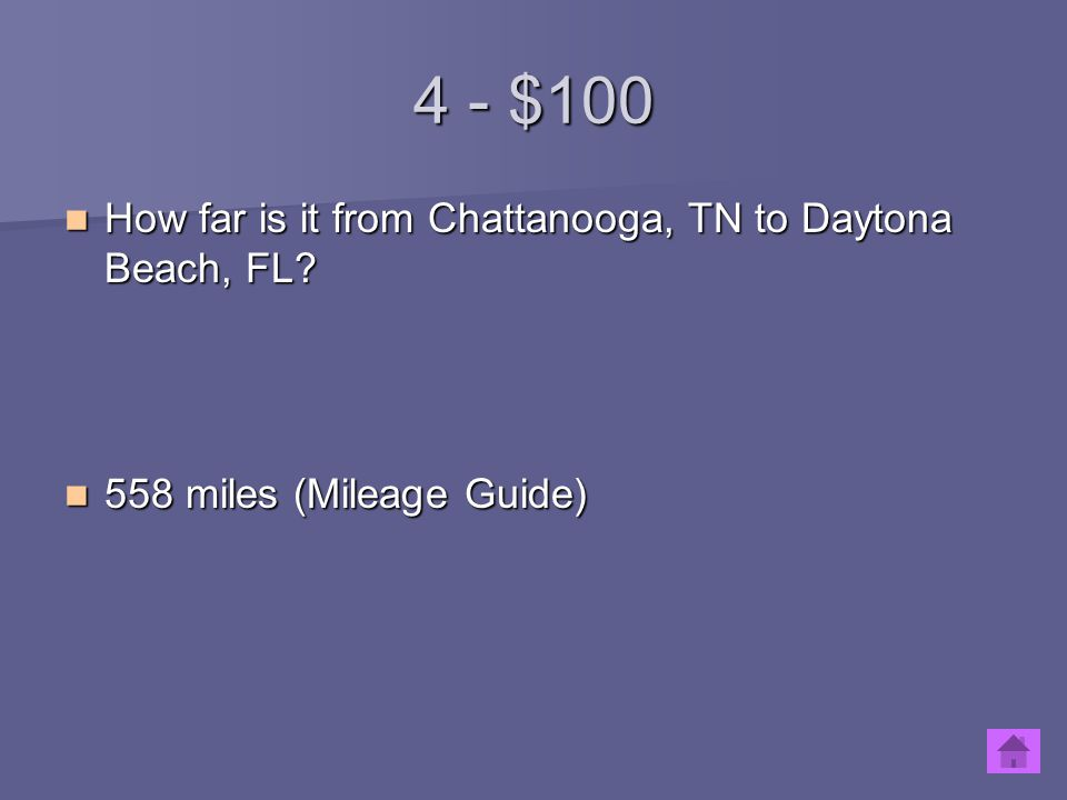 4 - $100 How far is it from Chattanooga, TN to Daytona Beach, FL? How far is it from Chattanooga, TN to Daytona Beach, FL? 558 miles (Mileage Guide) 5