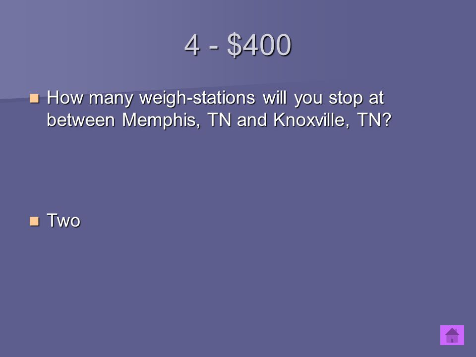 4 - $400 How many weigh-stations will you stop at between Memphis, TN and Knoxville, TN? How many weigh-stations will you stop at between Memphis, TN