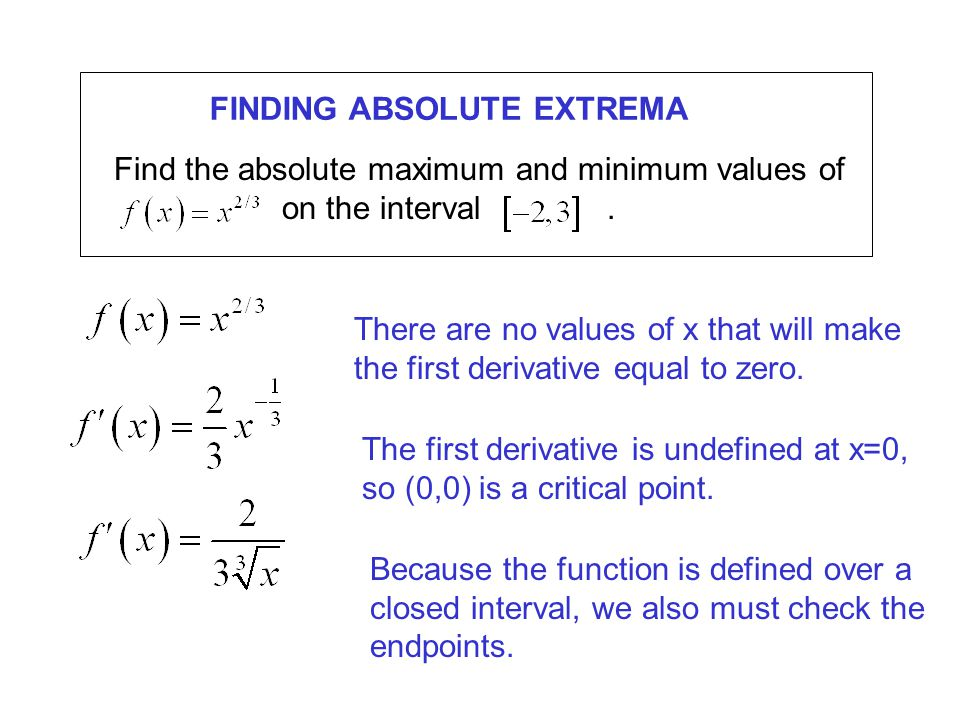 FINDING ABSOLUTE EXTREMA Find the absolute maximum and minimum values of on the interval.