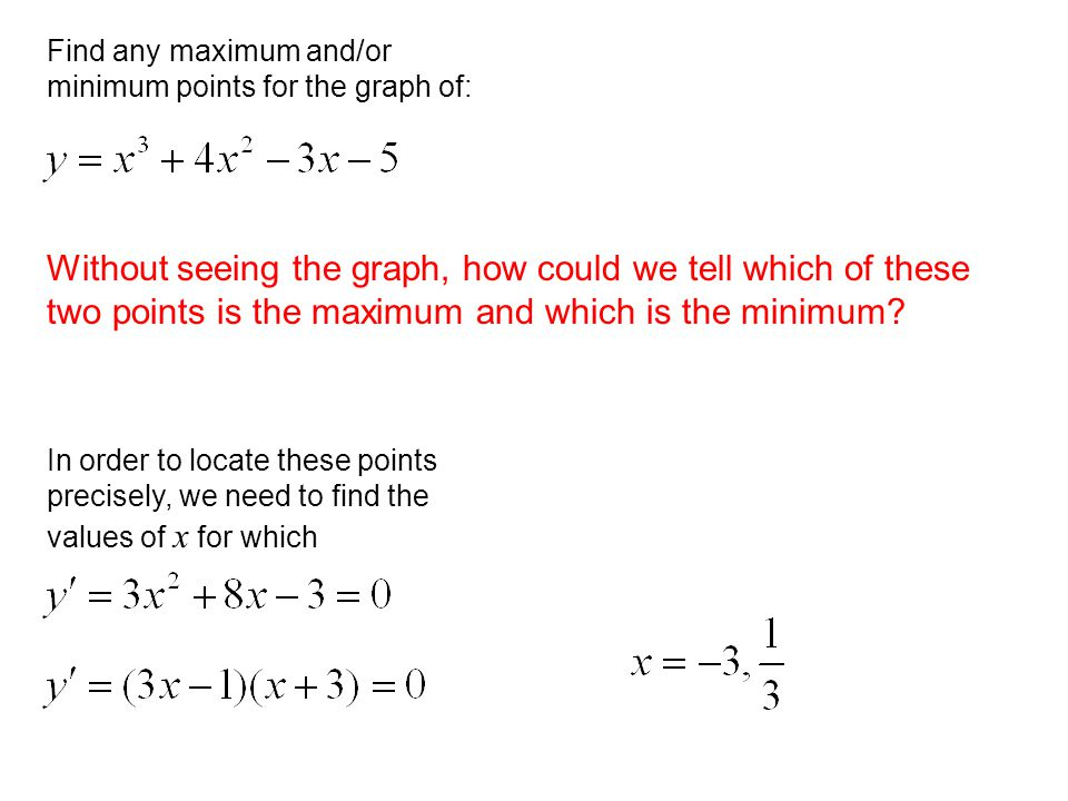 Without seeing the graph, how could we tell which of these two points is the maximum and which is the minimum.