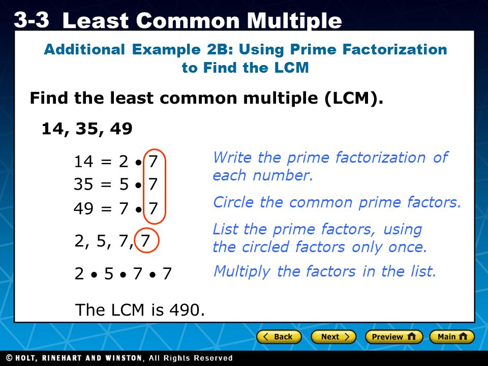 Holt CA Course 1 3-3 Least Common Multiple Check It Out.