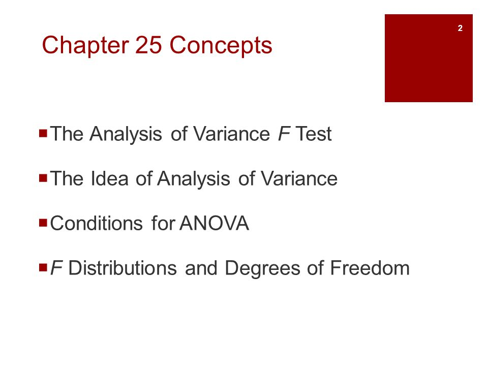 Chapter 25 Concepts  The Analysis of Variance F Test  The Idea of Analysis of Variance  Conditions for ANOVA  F Distributions and Degrees of Freed