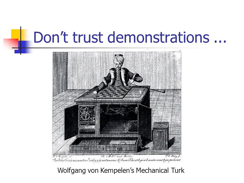 Don't trust demonstrations... Wolfgang von Kempelen's Mechanical Turk