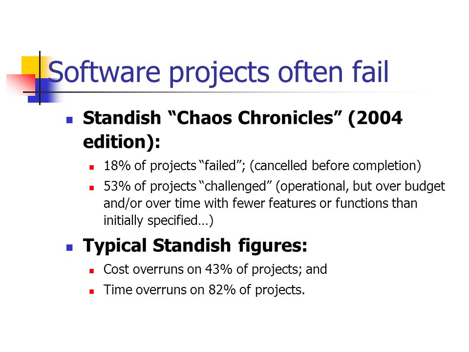 Why Projects overrun: MANAGEMENT ISSUES The requirements were not properly understood, recorded,and analysed - so there were many unnecessarily late changes Related hardware or business changes and risks were not planned, budgeted and managed competently Requirement changes were not kept under control and budgets and timescales were not adjusted to reflect essential changes Stakeholder conflicts were not resolved before the computing project started