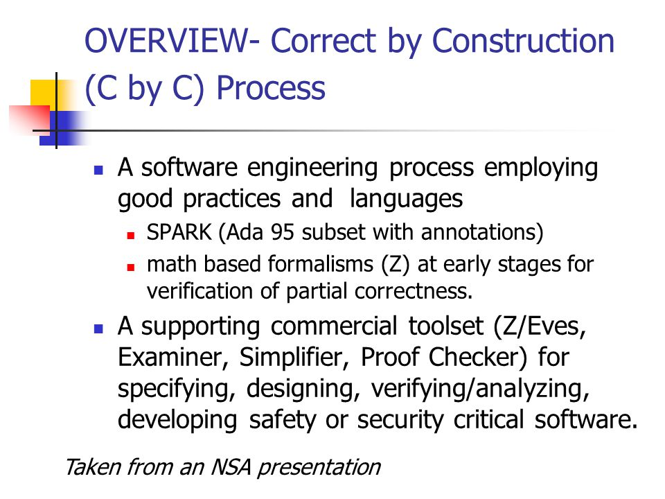 OVERVIEW- Correct by Construction (C by C) Process A software engineering process employing good practices and languages SPARK (Ada 95 subset with annotations) math based formalisms (Z) at early stages for verification of partial correctness.