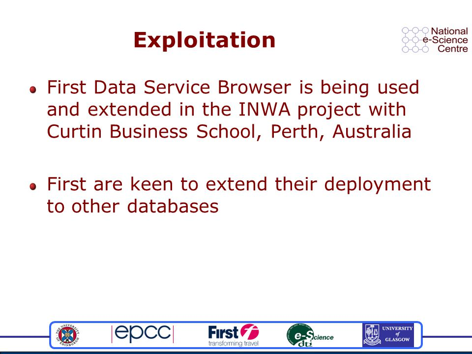Exploitation First Data Service Browser is being used and extended in the INWA project with Curtin Business School, Perth, Australia First are keen to extend their deployment to other databases