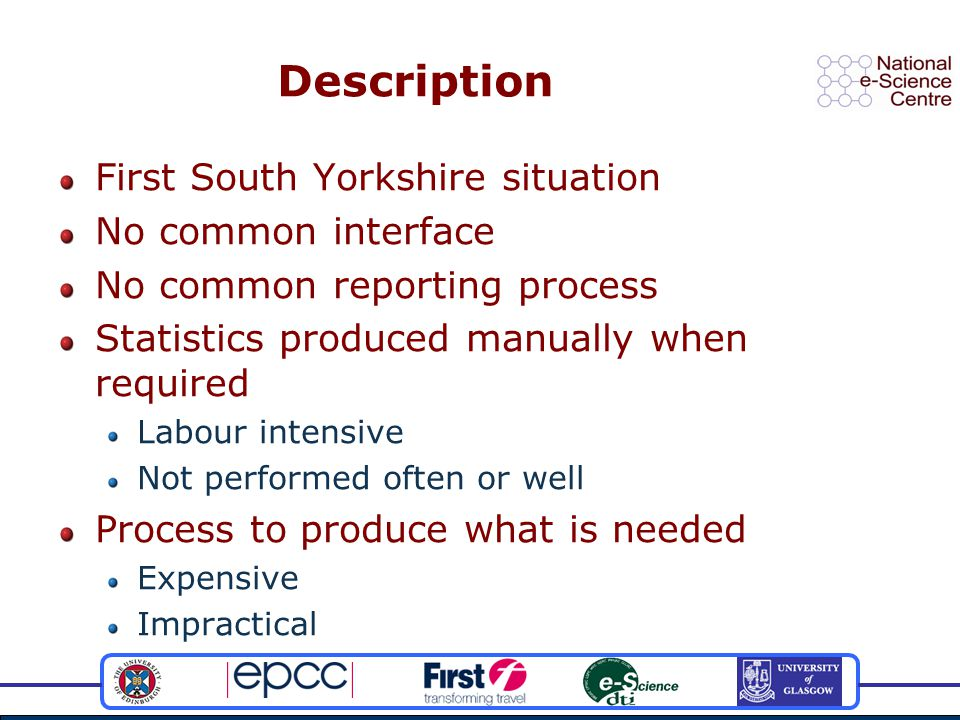 Description First South Yorkshire situation No common interface No common reporting process Statistics produced manually when required Labour intensive Not performed often or well Process to produce what is needed Expensive Impractical