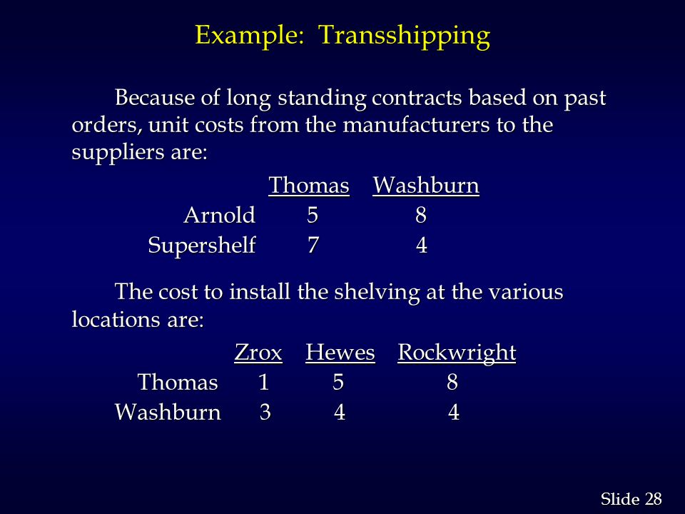28 Slide Example: Transshipping Because of long standing contracts based on past orders, unit costs from the manufacturers to the suppliers are: Thomas Washburn Thomas Washburn Arnold 5 8 Arnold 5 8 Supershelf 7 4 Supershelf 7 4 The cost to install the shelving at the various locations are: Zrox Hewes Rockwright Zrox Hewes Rockwright Thomas 1 5 8 Thomas 1 5 8 Washburn 3 4 4 Washburn 3 4 4