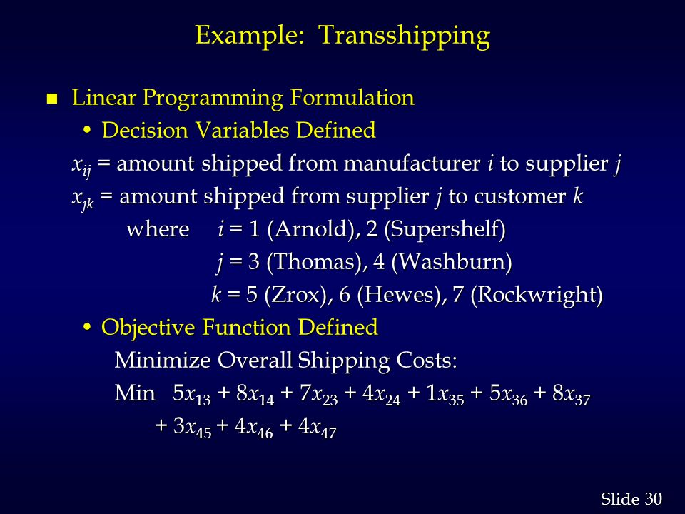30 Slide Example: Transshipping n Linear Programming Formulation Decision Variables DefinedDecision Variables Defined x ij = amount shipped from manufacturer i to supplier j x jk = amount shipped from supplier j to customer k x jk = amount shipped from supplier j to customer k where i = 1 (Arnold), 2 (Supershelf) where i = 1 (Arnold), 2 (Supershelf) j = 3 (Thomas), 4 (Washburn) j = 3 (Thomas), 4 (Washburn) k = 5 (Zrox), 6 (Hewes), 7 (Rockwright) k = 5 (Zrox), 6 (Hewes), 7 (Rockwright) Objective Function DefinedObjective Function Defined Minimize Overall Shipping Costs: Min 5 x 13 + 8 x 14 + 7 x 23 + 4 x 24 + 1 x 35 + 5 x 36 + 8 x 37 Min 5 x 13 + 8 x 14 + 7 x 23 + 4 x 24 + 1 x 35 + 5 x 36 + 8 x 37 + 3 x 45 + 4 x 46 + 4 x 47 + 3 x 45 + 4 x 46 + 4 x 47