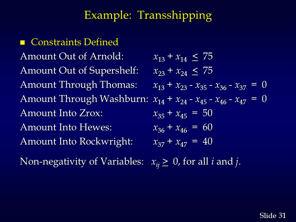31 Slide Example: Transshipping n Constraints Defined Amount Out of Arnold: x 13 + x 14 < 75 Amount Out of Supershelf: x 23 + x 24 < 75 Amount Through Thomas: x 13 + x 23 - x 35 - x 36 - x 37 = 0 Amount Through Washburn: x 14 + x 24 - x 45 - x 46 - x 47 = 0 Amount Into Zrox: x 35 + x 45 = 50 Amount Into Hewes: x 36 + x 46 = 60 Amount Into Rockwright: x 37 + x 47 = 40 Non-negativity of Variables: x ij > 0, for all i and j.