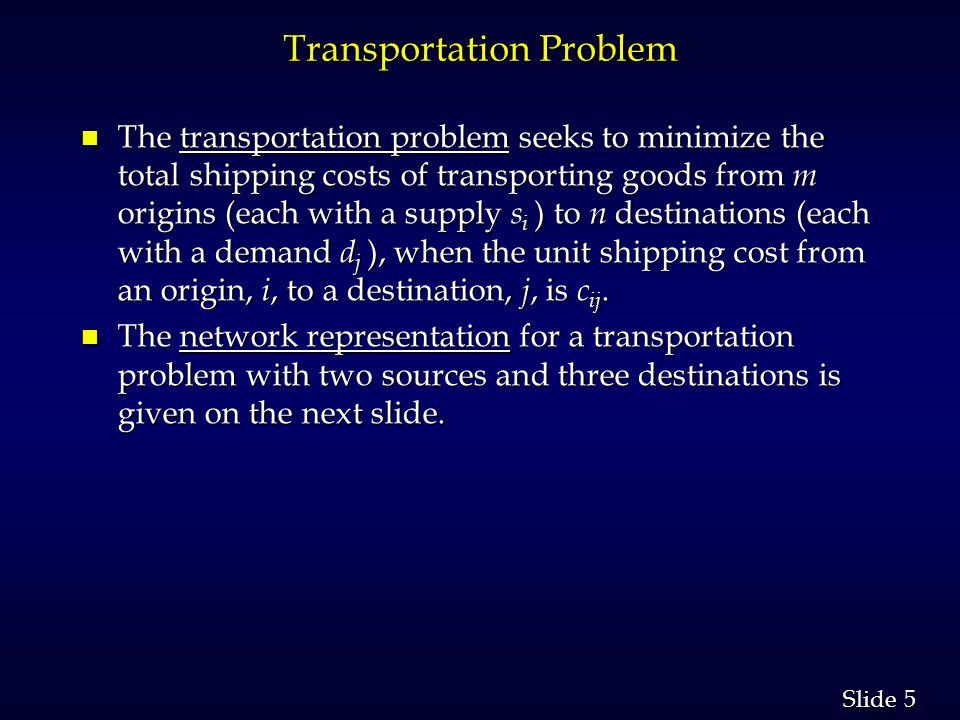 26 Slide Transshipment Problem n Linear Programming Formulation x ij represents the shipment from node i to node j x ij represents the shipment from node i to node j Min  c ij x ij Min  c ij x ij i j i j s.t.