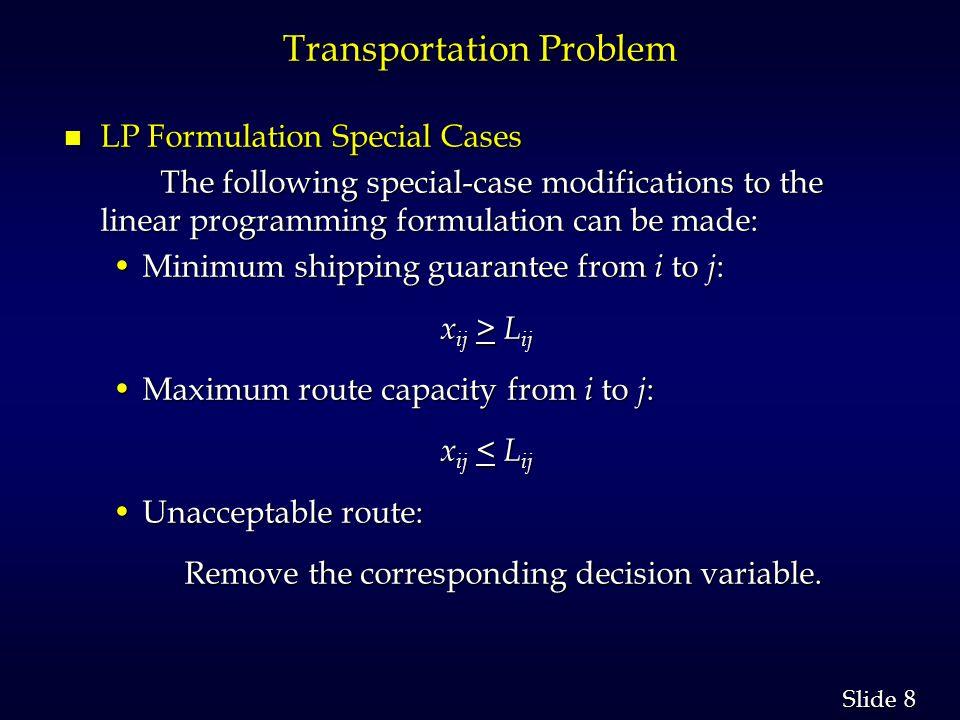 29 Slide Example: Transshipping n Network Representation ARNOLD WASH BURN ZROX HEWES 75 75 50 60 40 5 8 7 4 1 5 8 3 4 4 Arnold SuperShelf Hewes Zrox Thomas Wash-Burn Rock-Wright