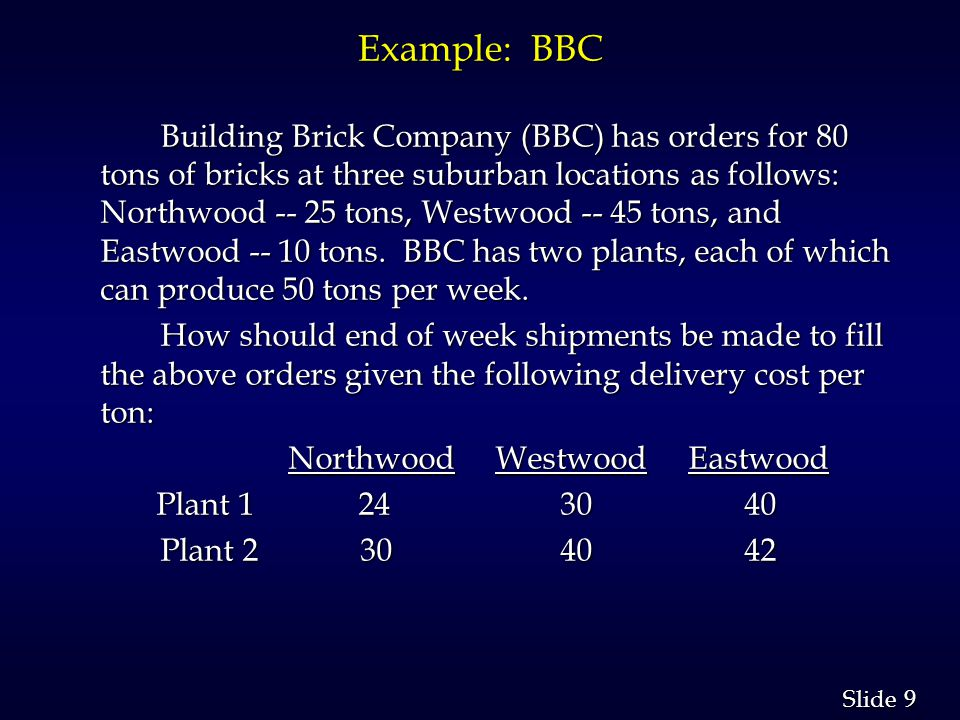 9 9 Slide Example: BBC Building Brick Company (BBC) has orders for 80 tons of bricks at three suburban locations as follows: Northwood -- 25 tons, Westwood -- 45 tons, and Eastwood -- 10 tons.
