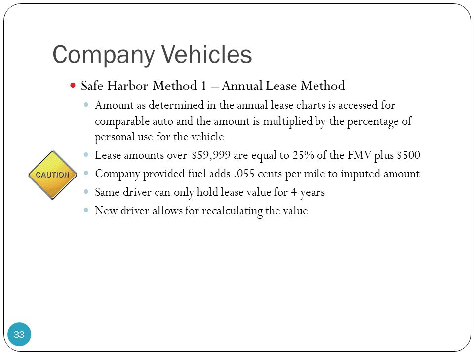 Company Vehicles Safe Harbor Method 1 – Annual Lease Method Amount as determined in the annual lease charts is accessed for comparable auto and the am