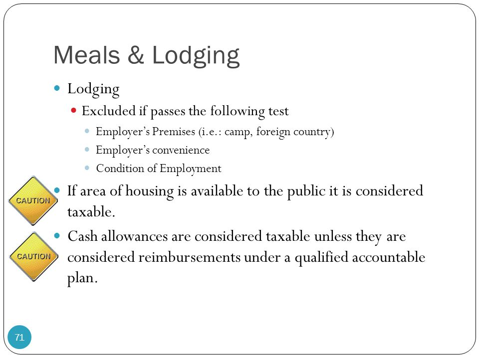 Meals & Lodging Lodging Excluded if passes the following test Employer's Premises (i.e.: camp, foreign country) Employer's convenience Condition of Em