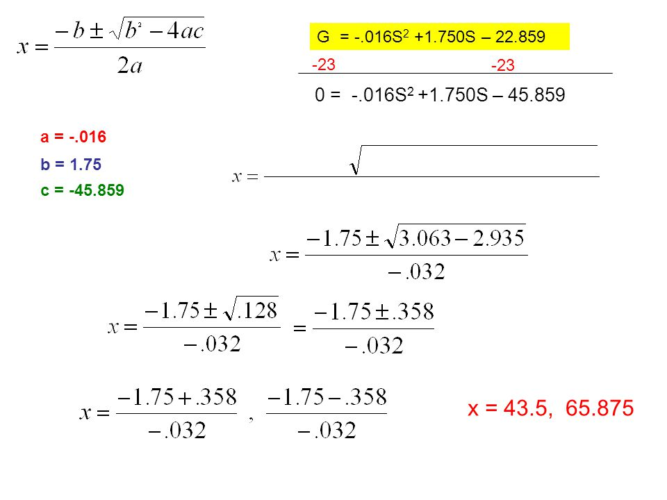 0 = -.016S 2 +1.750S – 45.859 -23 a = -.016 x = 43.5, 65.875 b = 1.75 c = -45.859 23 = -.016S 2 +1.750S – 22.859G