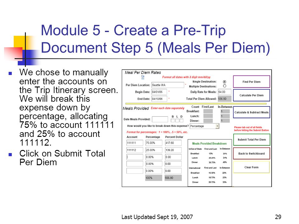 Last Updated Sept 19, 200729 Module 5 - Create a Pre-Trip Document Step 5 (Meals Per Diem) We chose to manually enter the accounts on the Trip Itinerary screen.