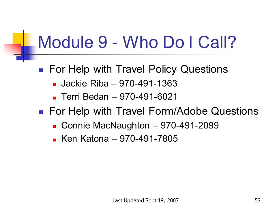 Last Updated Sept 19, 200753 Module 9 - Who Do I Call.