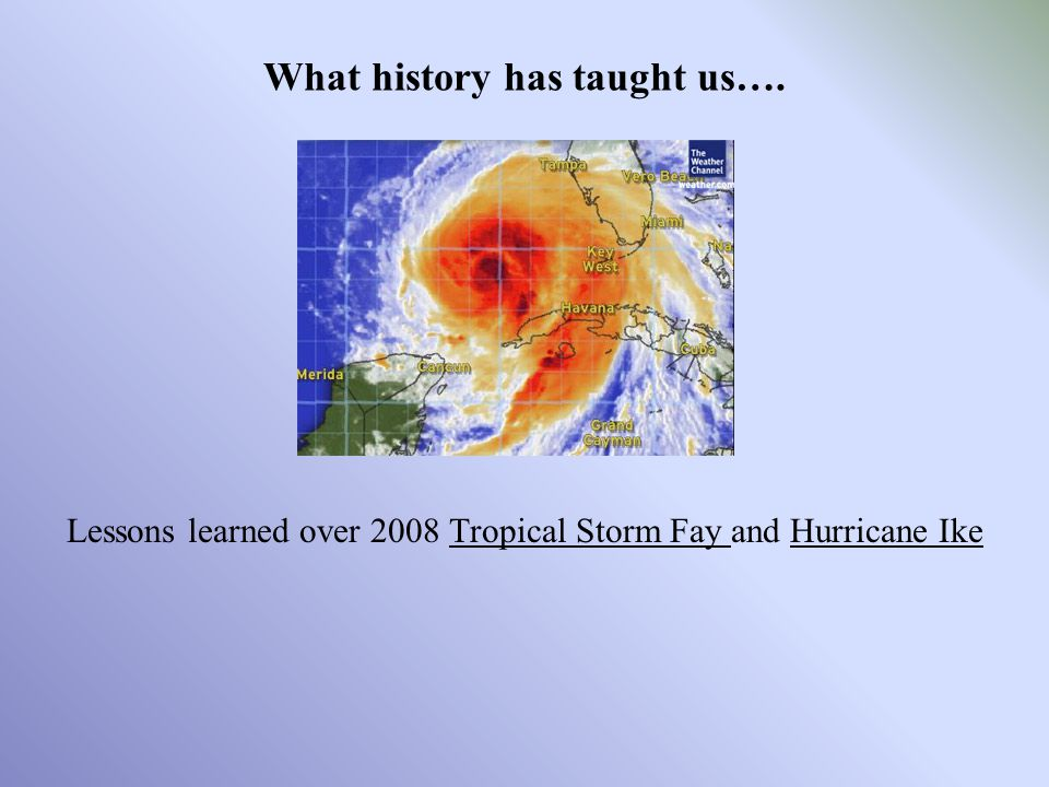 Lessons learned over 2008 Tropical Storm Fay and Hurricane Ike What history has taught us….