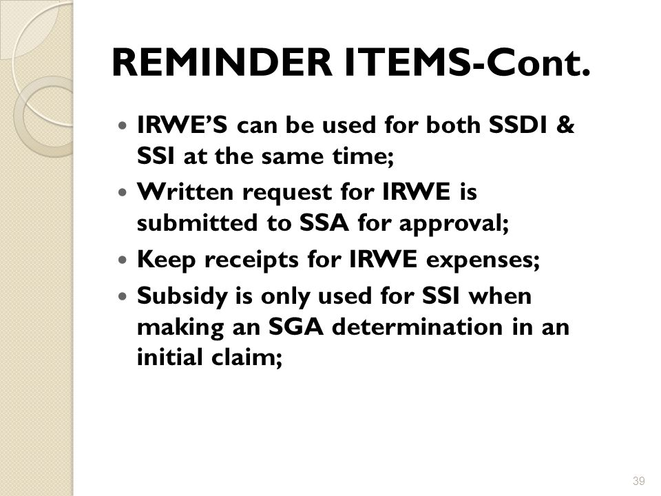 REMINDER ITEMS-Cont.