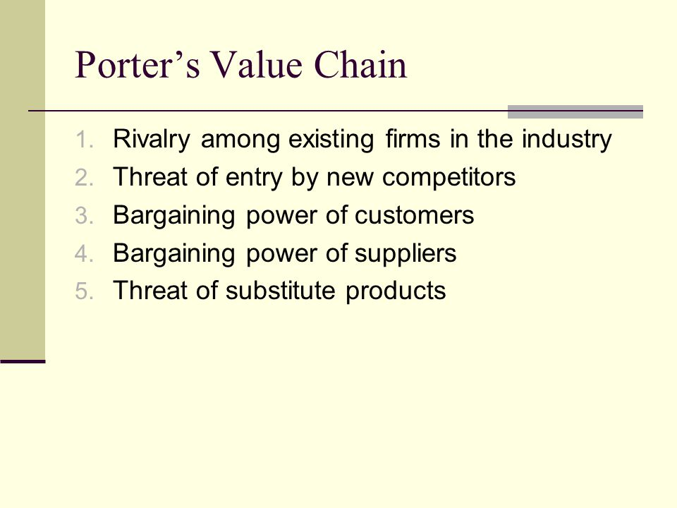 Porter's Value Chain 1. Rivalry among existing firms in the industry 2.