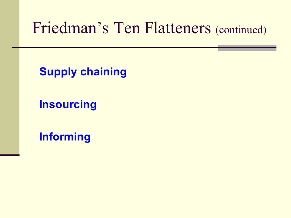 Friedman's Ten Flatteners (continued) Supply chaining Insourcing Informing