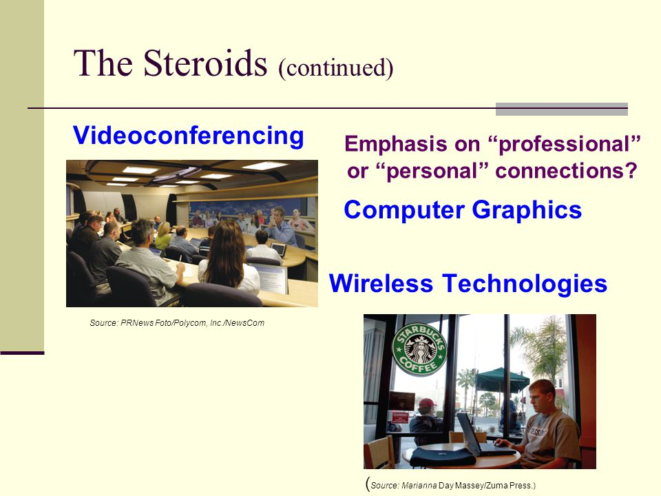 The Steroids (continued) Videoconferencing Computer Graphics Wireless Technologies Source: PRNews Foto/Polycom, Inc./NewsCom ( Source: Marianna Day Massey/Zuma Press.) Emphasis on professional or personal connections
