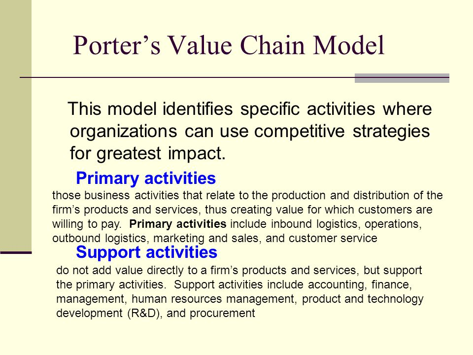 Porter's Value Chain Model This model identifies specific activities where organizations can use competitive strategies for greatest impact.