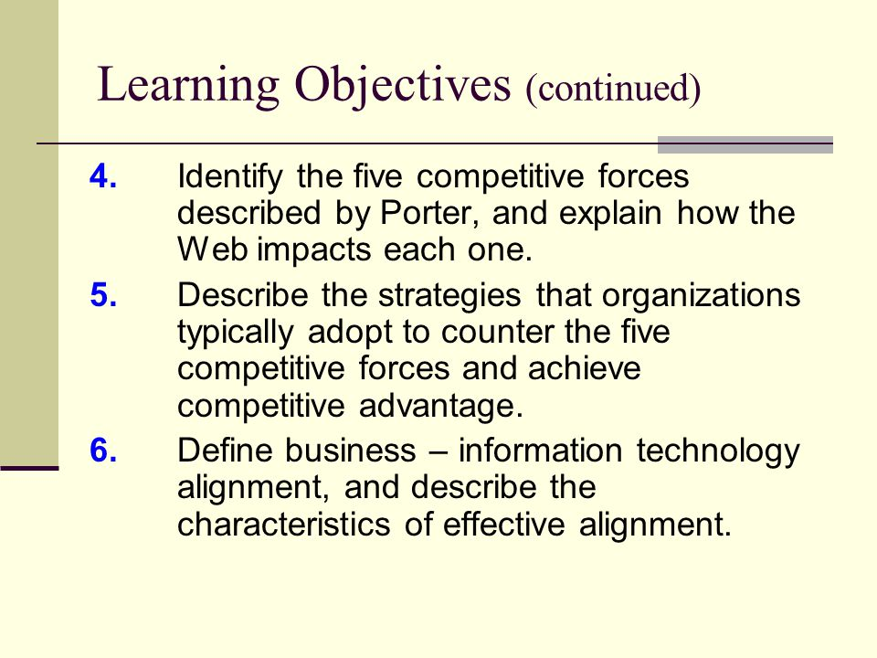Learning Objectives (continued) 4.Identify the five competitive forces described by Porter, and explain how the Web impacts each one.