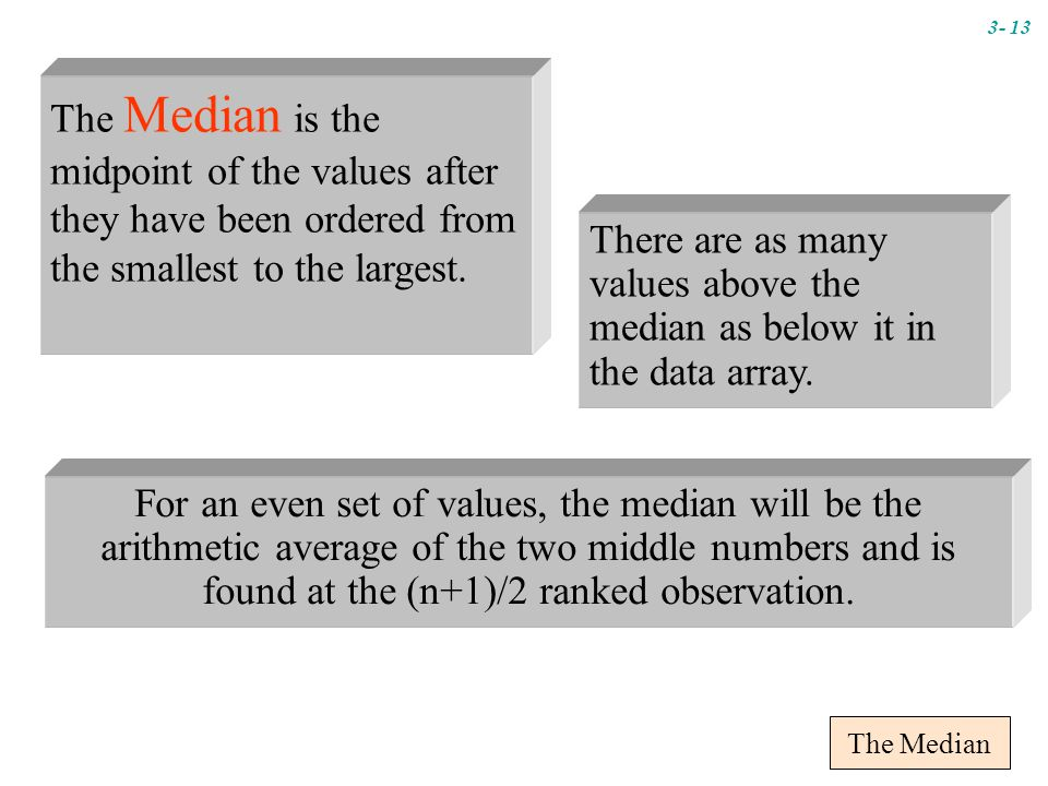 The Median There are as many values above the median as below it in the data array.