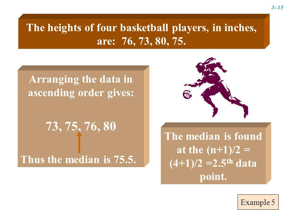 Example 5 Arranging the data in ascending order gives: 73, 75, 76, 80 Thus the median is 75.5.