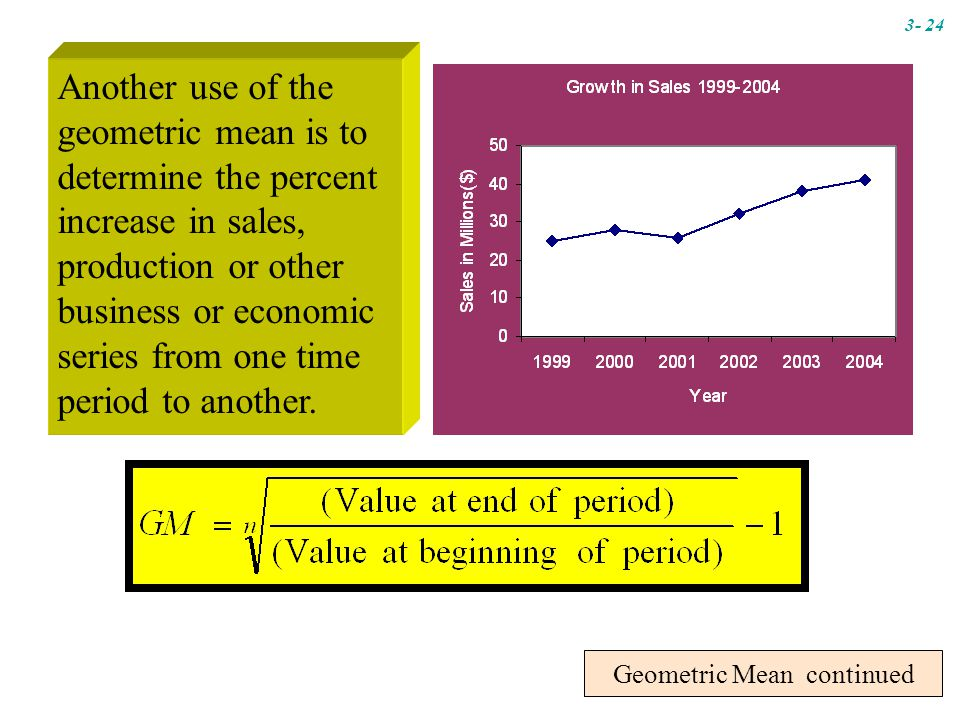 Geometric Mean continued Another use of the geometric mean is to determine the percent increase in sales, production or other business or economic series from one time period to another.